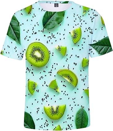 Romantic Fruit Kiwi - Camiseta de Manga Corta para Hombre, Unisex, Color Blanco Verde L: Amazon.es: Ropa y accesorios