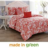 "Wonder Home 5 Pieces Oversized King Comforter Set Cotton Shell Polyester Filling, Luxury Valentines Coral Paisley Comforter, 2 Shams, 1 Embroidered Pillow, 1 Pintuck Pillow, King, 106""x96"""