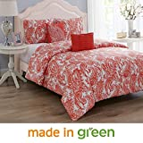 Oversized King Comforter Sets Wonder Home 5 Pieces Oversized King Comforter Set Cotton Shell Polyester Filling, Luxury Valentines Coral Paisley Comforter, 2 Shams, 1 Embroidered Pillow, 1 Pintuck Pillow, King, 106
