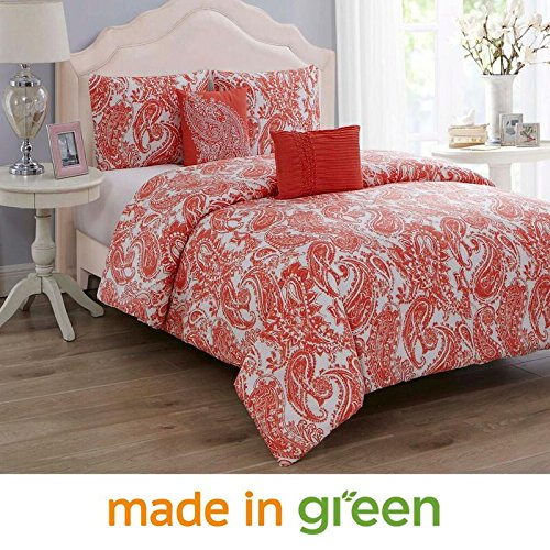 Wonder Home 5 Pieces Oversized King Comforter Set Cotton Shell Polyester Filling, Luxury Valentines Coral Paisley Comforter, 2 Shams, 1 Embroidered Pillow, 1 Pintuck Pillow, King, 106