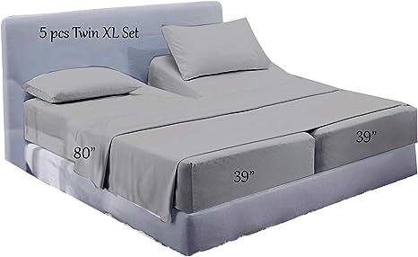 5 PCs Split Sheet Set Adjustable Bed Sheets 100/%Egyptian Cotton Light Grey Solid