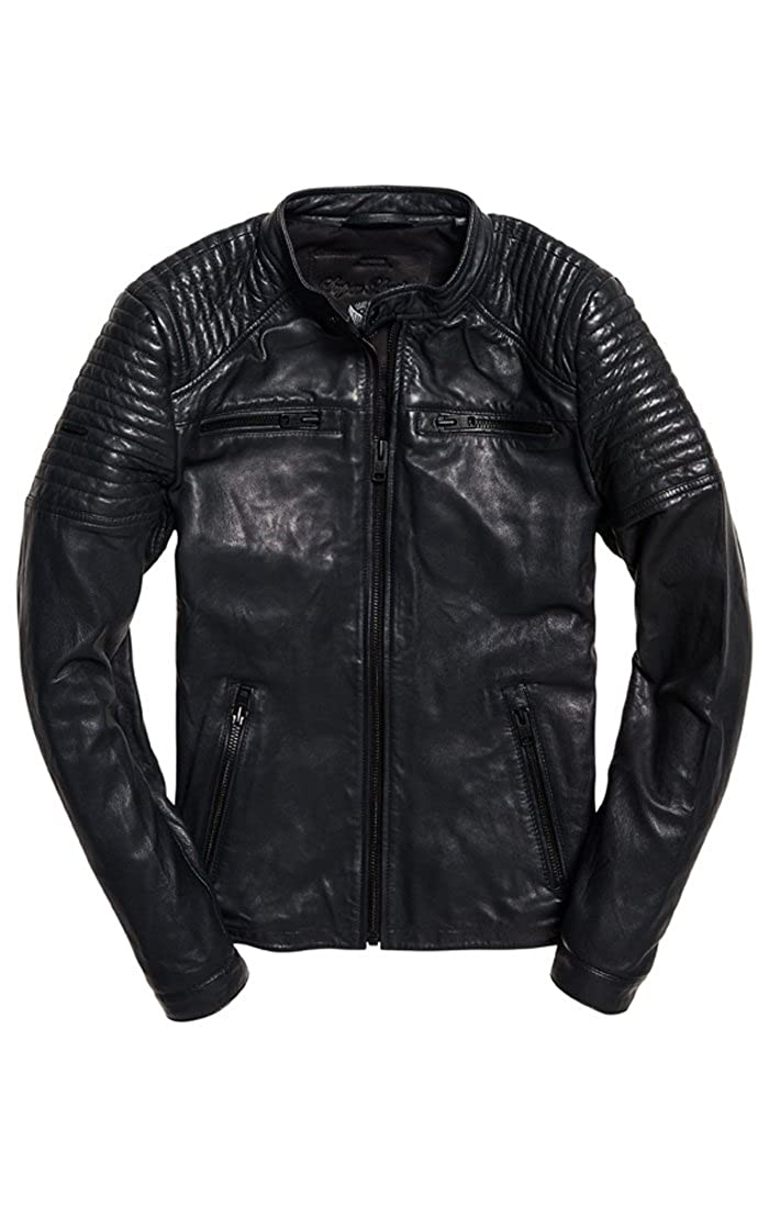 Superdry Leather Quilt Racer Jacke Herren Jacken & Mäntel