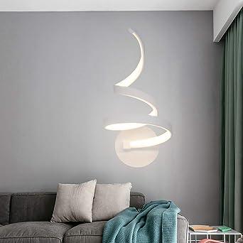 Artpad Modern Nordic Metal 20w Lámpara de pared Led de interior Dormitorio pintado blanco Escalera de noche Hotel Lámpara de luz blanca cálida Lámpara de pared montada en la pared: Amazon.es: Iluminación