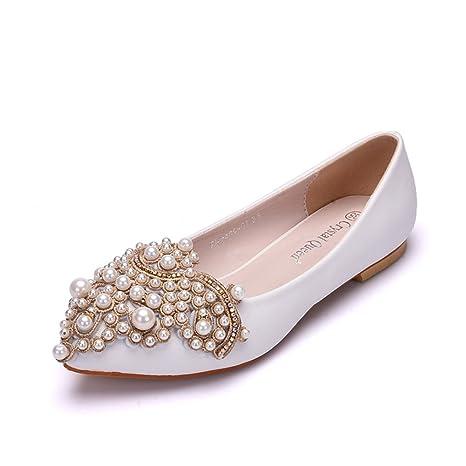 Boda Nupcial Zapatos Para Mujer Mocasines Blanco Ponerse Pisos Diamante De Imitación Perla Zapatillas Resplandecer Bajo