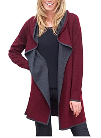 BNCI by Blanc Noir Womens Hooded Wool Blend Cardigan burgundy x ...
