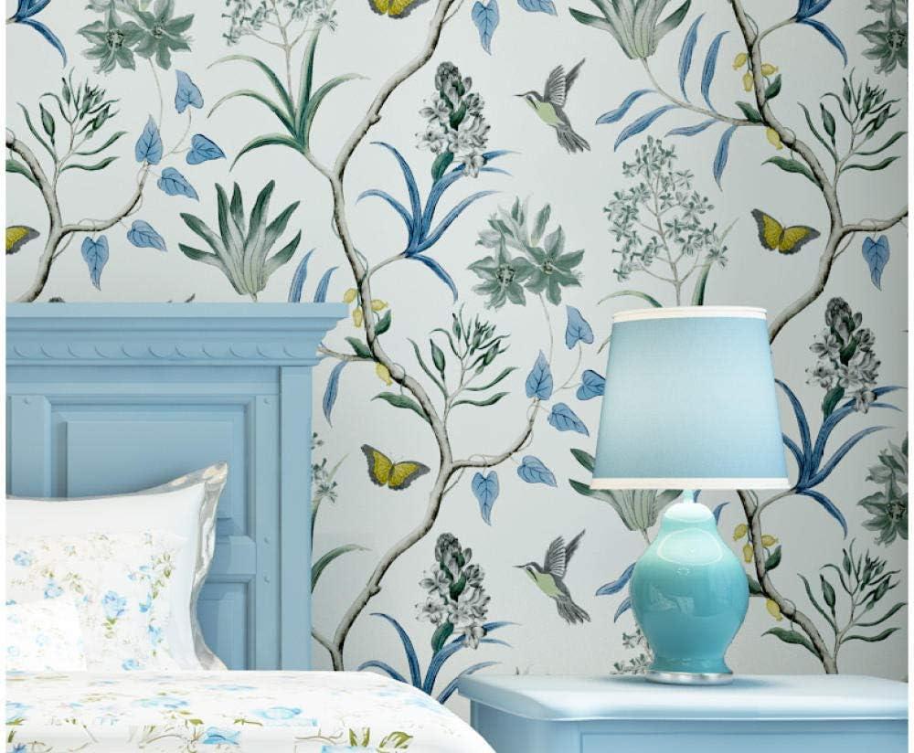 Papel pintado de flores y p/ájaros fresco dormitorio pastoral sala de estar TV fondo pared porche papel pintado no tejido