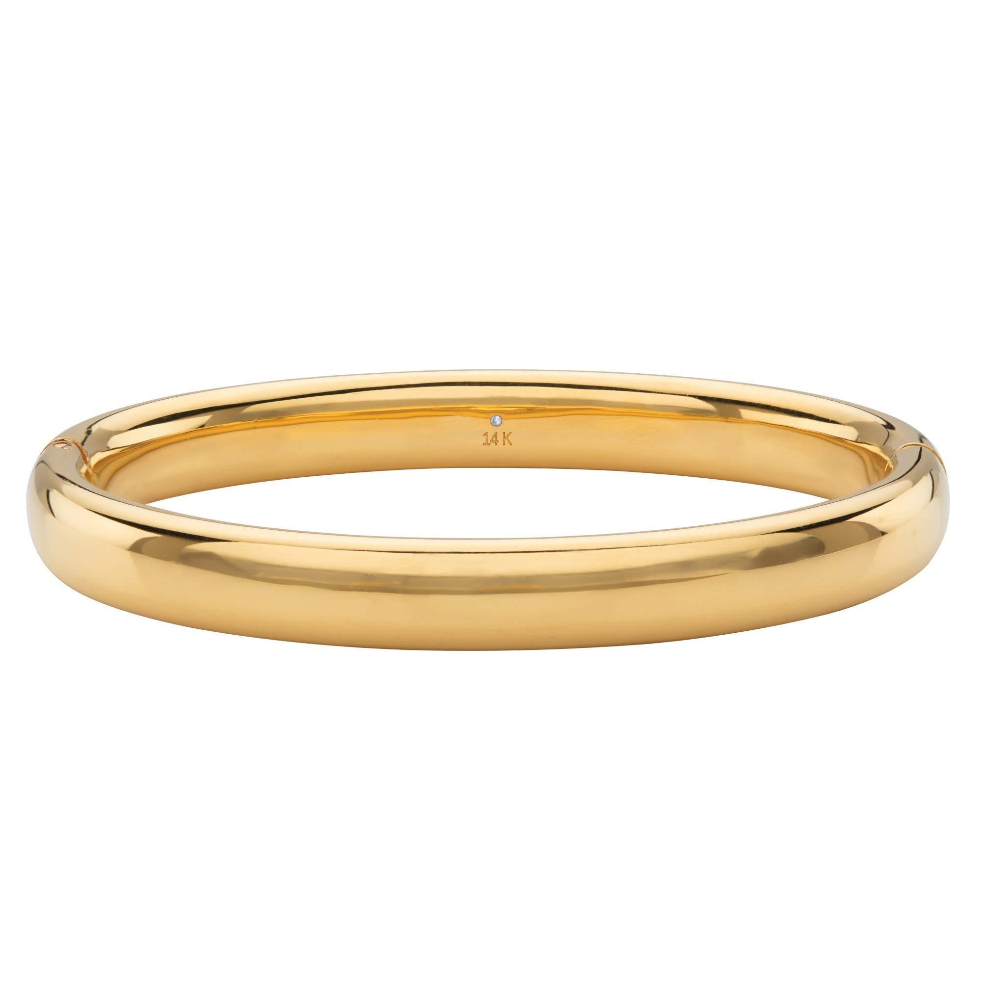14K Yellow Gold Hollow Nano Diamond Resin Filled Magnetic Bangle Bracelet 8''