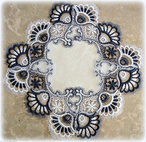 Galleria di Giovanni Lace Blue White Doily 15quot Navy Table Topper Scarf
