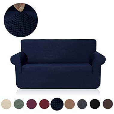 misaya Stretch Sofa Cover Soft Non-Slip Furniture Protector Jacquard Checks 1-Piece Couch Slipcover Loveseat, Navy