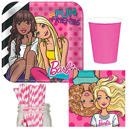 (Barbie & Friends Party Supplies Bundle, Plates, Napkins, Cups & Straws for 16)