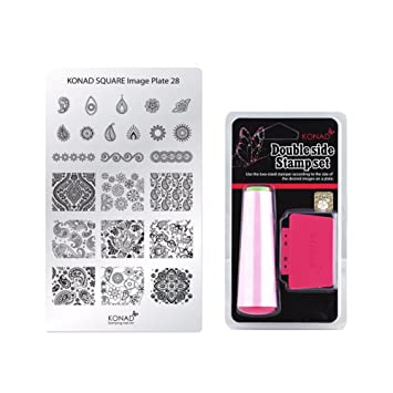 Amazon. Com: konad stamping nail art diy square image plate 01.