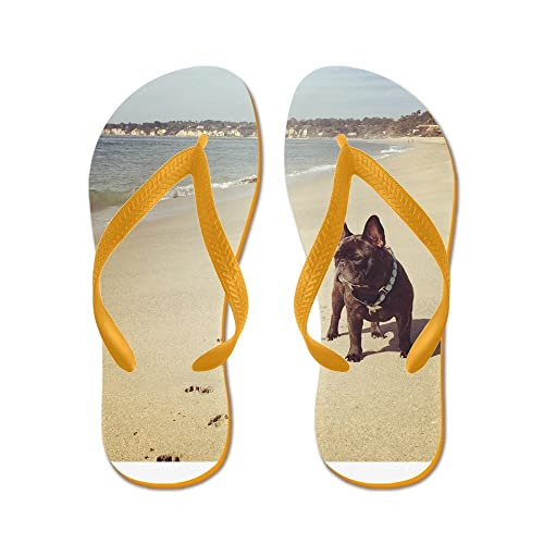 6395fc75f4614 Image Unavailable. Image not available for. Color  CafePress - French  Bulldog On The Beach - Flip Flops ...