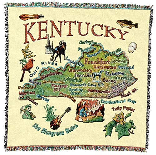 Pure Country Weavers - Kentucky State Woven Throw Blanket with Fringe Cotton. USA Size 54x54