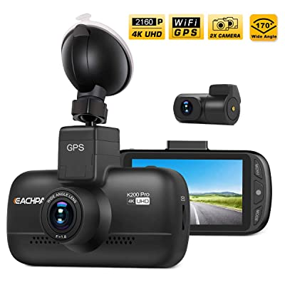 Dual Dash Cam 4K Dash Cam (2880x2160P SingleFront) Dual 1920x1080P Front and Rear Camera WiFi GPS 3.0'' LCD 170° Wide Angle Sony Sensor SuperCapacitor Motion Detection Time Lapse Eachpai K200 Pro: Car Electronics