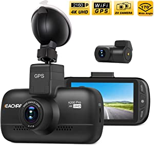 Dual Dash Cam 4K Dash Cam (2880x2160P SingleFront) Dual 1920x1080P Front and Rear Camera WiFi GPS 3.0'' LCD 170° Wide Angle Sony Sensor SuperCapacitor Motion Detection Time Lapse Eachpai K200 Pro