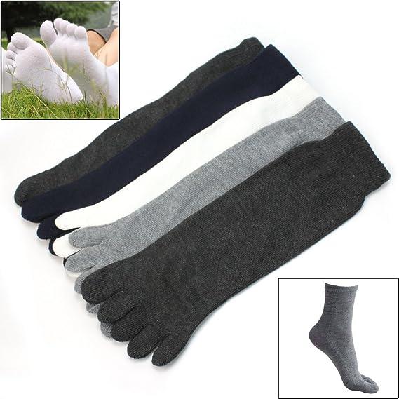 5 Pares Nuevo Calcetines Cinco Dedo del Pie Separados Mezcla del Algodón Hombre: Amazon.es: Deportes y aire libre