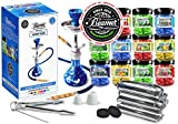 U Pick Flavors and Charcoal! Blue Beamer Model 9 Hookah Set, 5 Random Flavors 50g Beamer Ice Drops Gel Shisha, 5 Rolls Charcoal (10 Coals/roll; 50 Tablets Total), Limited Edition Beamer Sticker
