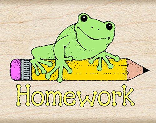 Hero Arts D291 Homework Frog Woodblock Stamp]()
