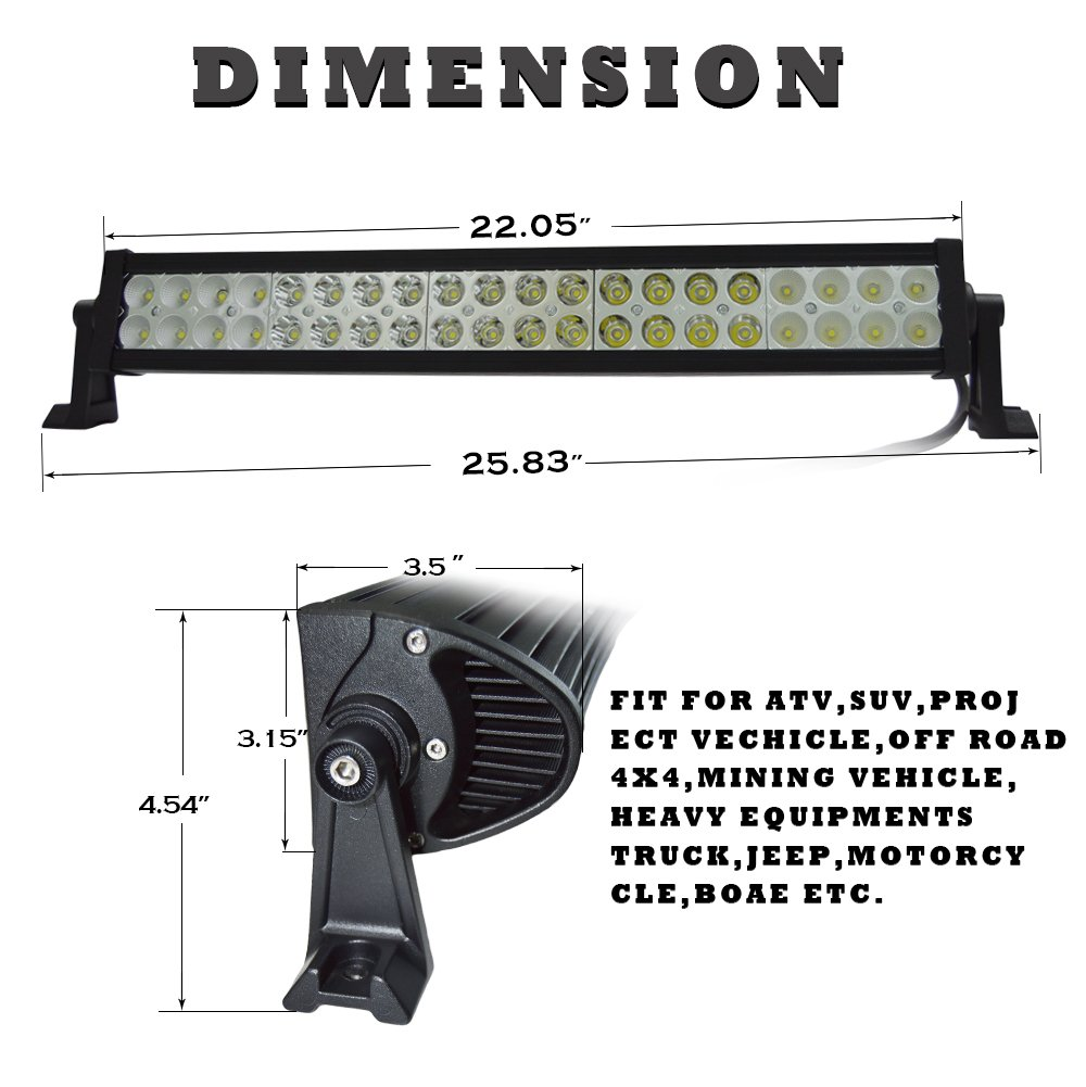 Simplive 24 120w Led Light Bar Flood Spot Combo With Wiring Harness Jeep Driving Diagram 05 And Mounts Bars Amazon Canada