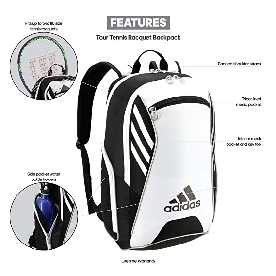 Amazon.com  adidas Tour Tennis Racquet Backpack, Black White Silver, One  Size  Sports   Outdoors a14280b8ad