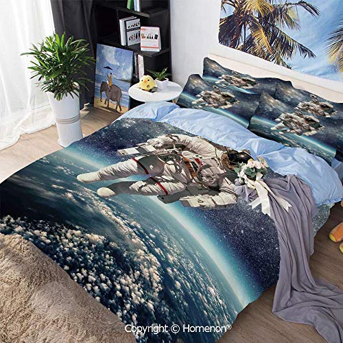 - 3 Piece Set Microfiber Fabric,Astronaut Floats Outer Space with Planet Earth Globe Surreal Gravity Image Space Art,Queen Size,Include 1 Quilt Cover+2 Pillow case,Grey Blue