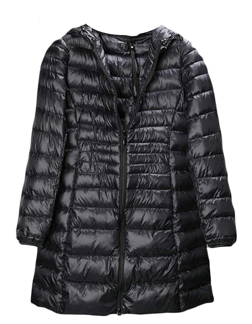 Black CRYYU Women Casual Solid Lightweight Slim Fit Hooded Puffer Down Coats