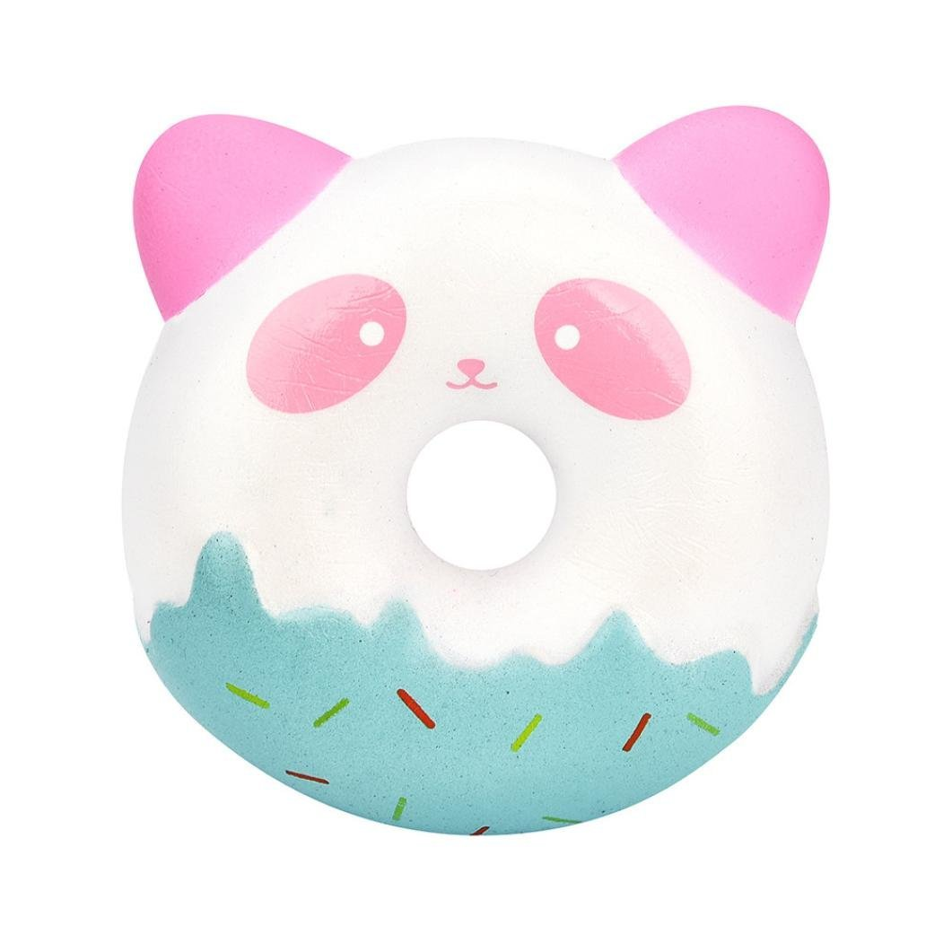 Drfoytg Cute Stress Reliever Toys Donuts Squishy Toy Panda Decompression Slow Rising Squeeze Cream Scented Key (A)