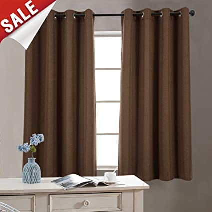 Blackout Curtains Bedroom Brown 45 inch Long Linen Look Curtains Living  Room Curtain Panels Grommet Room Darkening Window Curtains, 1 Panel