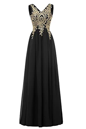 YY Womens Gold Lace V-Neck Prom Dresses for Juniors Long Chiffon Party Gowns YY019