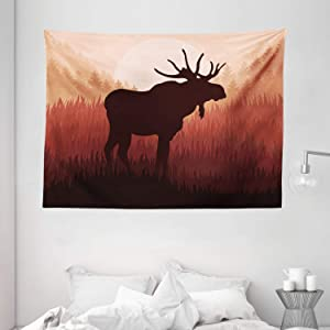 "Ambesonne Moose Tapestry, Antlers in Wild Alaska Forest Rusty Abstract Landscape Design Deer Theme Woods, Wide Wall Hanging for Bedroom Living Room Dorm, 80"" X 60"", Peach Brown"