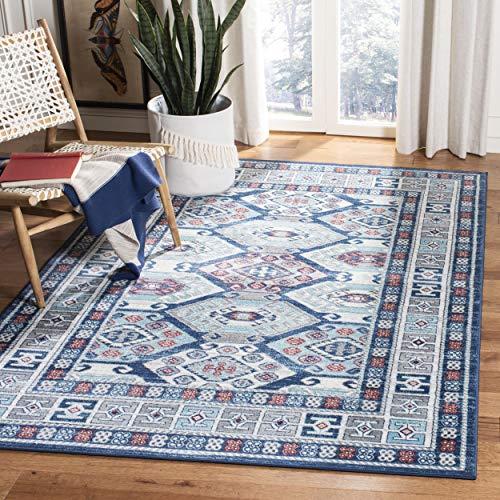 Safavieh KZK121B-4 Kazak Collection KZK121B Blue and Grey Area (4' x 6') Rug,