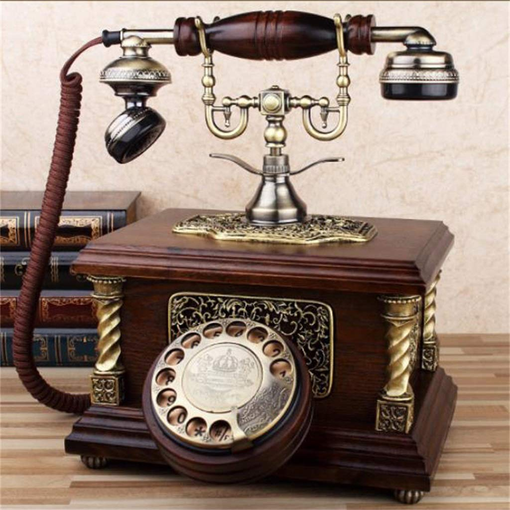 JGBHPNYX Antique Telephone European Retro Solid Wood Decoration European Rotating Old Home Telephone