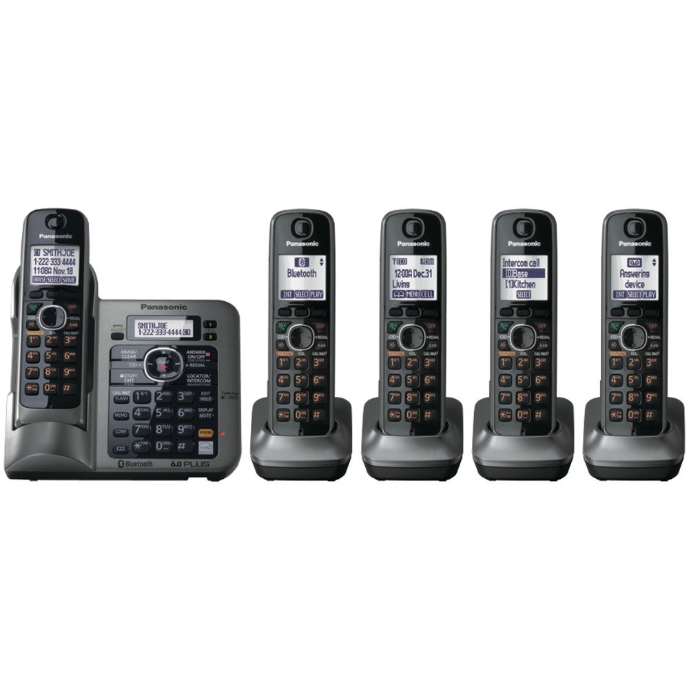 Amazon panasonic kx tg7643m dect 60 link to cell bluetooth amazon panasonic kx tg7643m dect 60 link to cell bluetooth cordless phone with 3 handsets cordless telephones office products sciox Images