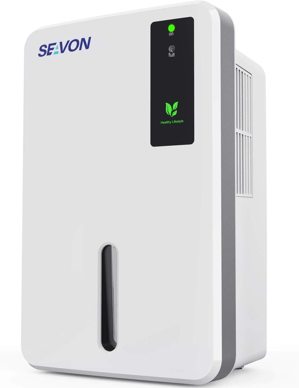 SEAVON 2020 New Electric Portable Dehumidifier, 1800 Cubic Feet (212 sq ft) Ultra- Quiet and 1500ml (50oz) Capacity Quiet Dehumidifier for Bathroom, Bedroom, Basements, RV, Living Room, Auto-Shut Off