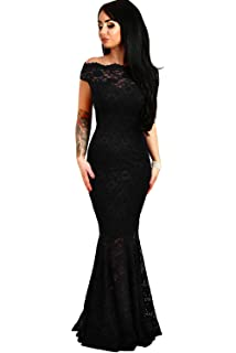 shelovesclothing Womens Off The Shoulder Bardot Lace Fishtail Maxi Dress Evenings Weddings