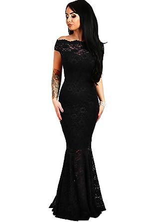 858e3dcd7f6 shelovesclothing Women s Off The Shoulder Bardot Lace Fishtail Maxi Dress  Evenings Weddings (Small 6-