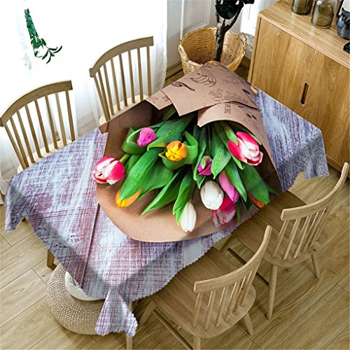 ZHCJH Washable 3D Tablecloth Rectangular Flower Series Rectangle Dinner Picnic Classic Table Cloth Home Decoration,60X120cm