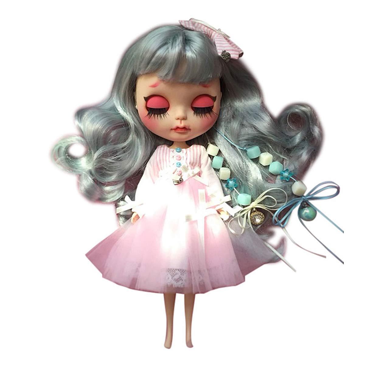 4 Colori Occhi Diverse Mani Libere per Cambiare Capelli Blu Puppe per Collezione Adulti,dressset1,7joints Aegilmc Bambola Snodata BJD Trucco Viso Mini Blythe Icy Dolly Snodate Abito Carino