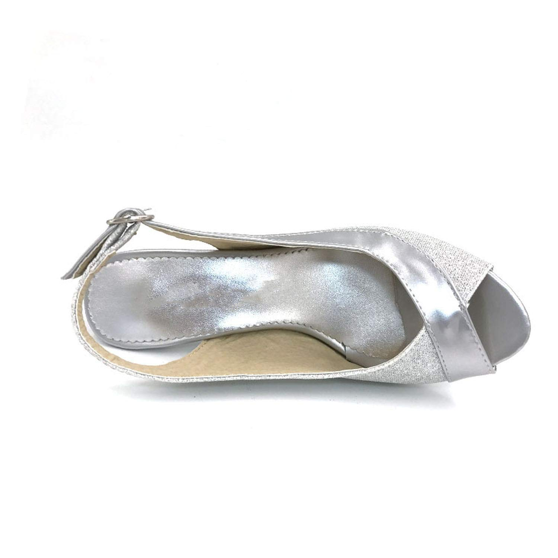 Fairly Peep Open Toe High Heel Ladies Thin Heels Woman Back Strap Heels Shoes,Gold,12