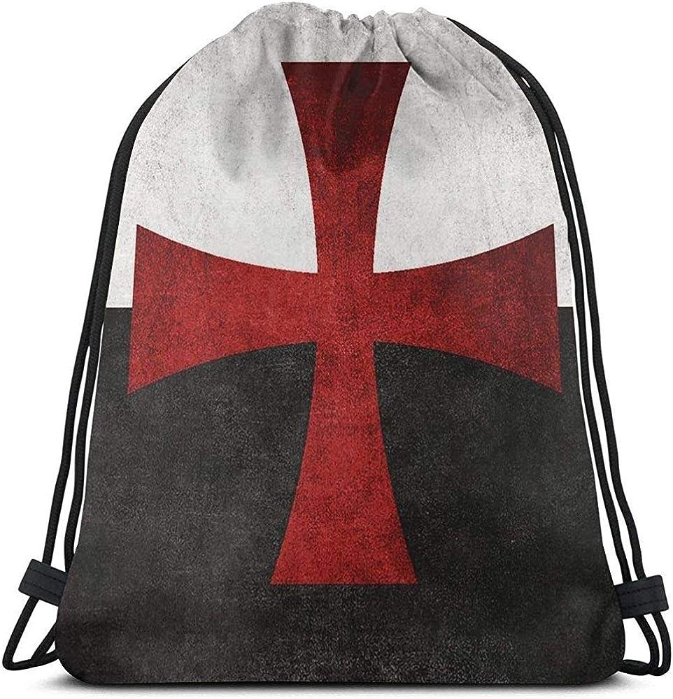 Bandera en blanco y negro Mochila con cordón de cruz de hierro rojo Bolso de gimnasio informal duradero Bolsas Cinch Bolsa de almacenamiento portátil