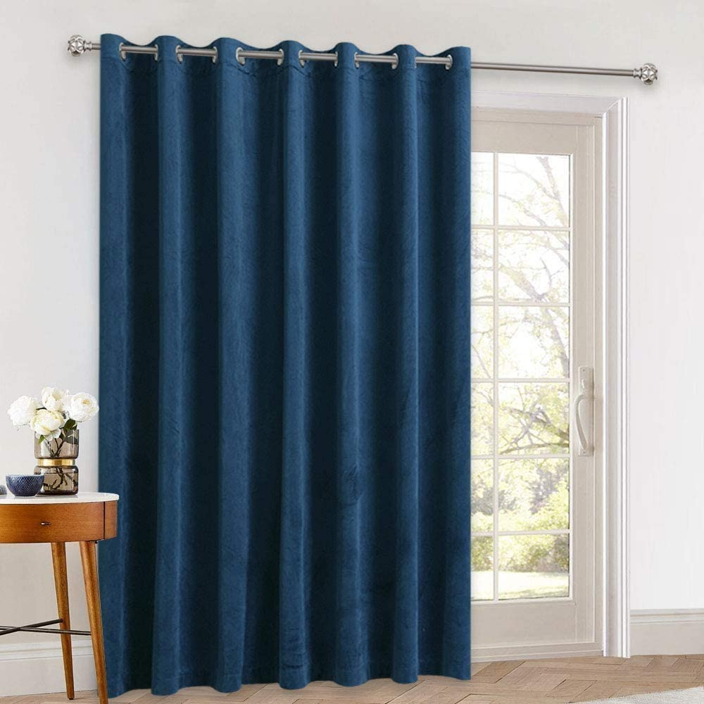 StangH Large Window Velvet Curtain Drapes - 120 inches Velvet Texture Thermal Blackout Vertical Blinds Sliding Glass Door Patio Curtain for Guest Room/Office, Blue, W100 x L120 inches, 1 Pc