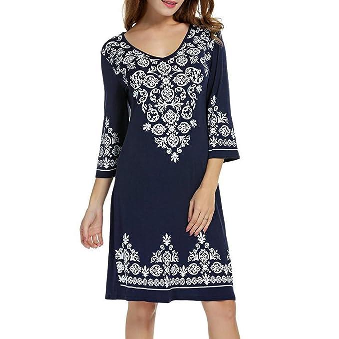 b1cc91081ae27 Hunzed Women Dress, Fashion { 3/4 Sleeve Dress } Casual { Flowy Print
