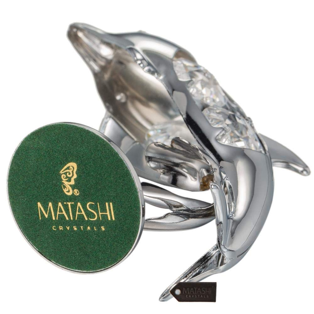 Matashi Chrome Plated Crystal Studded Silver Dolphin Riding Wave Figurine Ornament MT13370