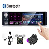Car Stereo 4'' Capacitive Touch Screen Single Din Bluetooth Car Player FM AM RDS Radio Receiver Dual USB AUX-in SD Card Port + Backup Camera + Microphone
