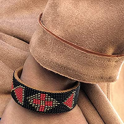 Mayan Arts Beaded Cuff Bracelet, Black, Gold, and Red, Suede,Western, Cowgirl Jewelry, Boho Look, Handmade in Guatemala