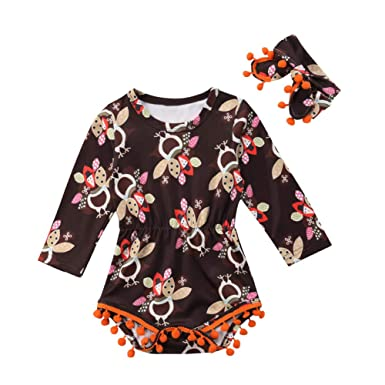 be0d9e061bba Amazon.com: Zoiuytrg Newborn Baby Girl Thanksgiving Outfit, Infant Long  Sleeve Tassel Turkey Romper Jumpsuit Bodysuit Outfit, 0-24 Months: Clothing