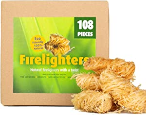 CHENCY 108Pcs 100% Natural Fire Starter, Wood Firelighter, Wood Wool Fuel for Fireplace, Campfire, Wood Stove, Fire Pit, Charcoal Grill, BBQ Smoker