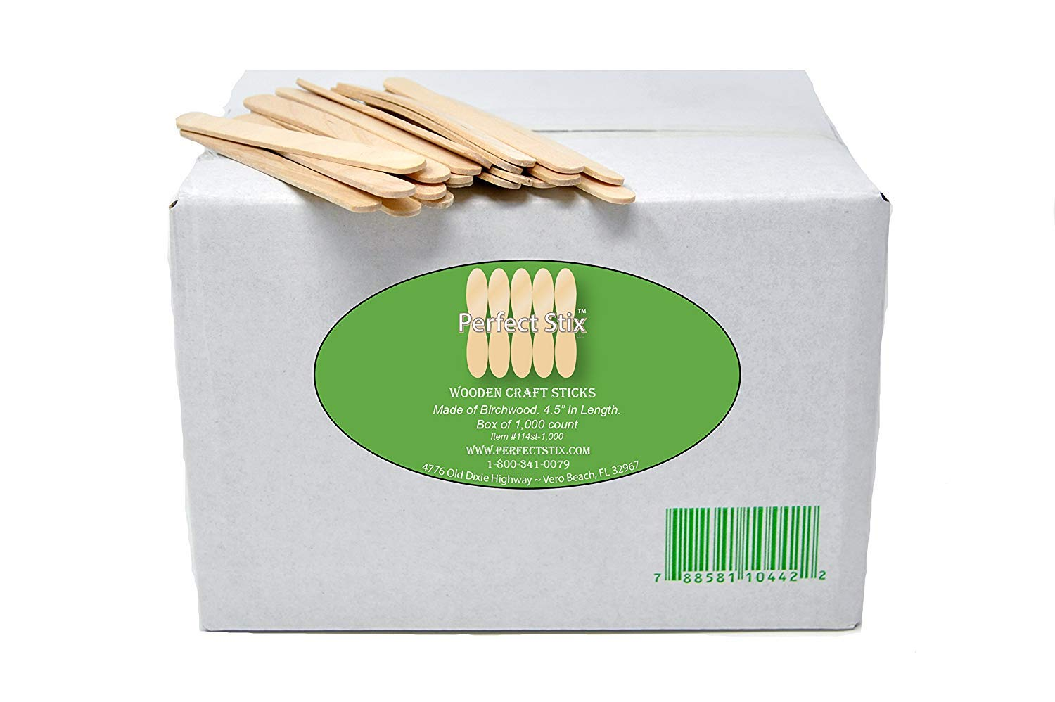 "Perfect Stix 4.5""Craft Sticks/ Ice Cream Sticks/ Natural Wood - Box of 1,000ct"