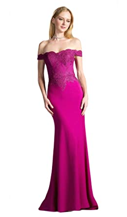 3d911e19bc5 Cinderella Divine CF158 Stretch Crepe Satin Off Shoulder Gown in Magenta