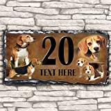 Custom Beagle Dog House Slate Personalised Pet Name Number Sign - 30cm x 15cm by Krafty Gifts